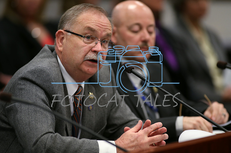 Nevada Parole & Probation Chief Bernie Curtis testifies in committee at the Nevada Legislature in Carson City, Nev., on Monday, March 4, 2013..Photo by Cathleen Allison