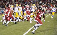 NWA Media/ANDY SHUPE - Arkansas' Alan Turner celebrates a missed field goal by LSU's Colby Delahoussaye during the second quarter Saturday, Nov. 15, 2014, at Razorback Stadium in Fayetteville.