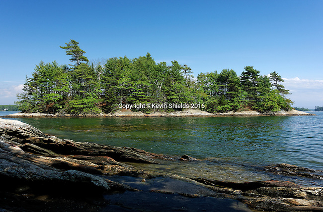 View of Googins Island, Wolfes Neck State Park, Freeport, Maine, USA