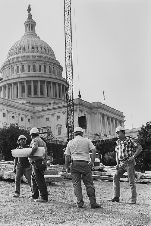 West front of on Capitol Hill Renovation on Sep. 23, 1991. (Photo by CQ Roll Call via Getty Images)