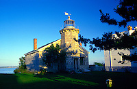The exterior of the Stonington Point Lighthouse Museum. Connecticut.