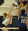 Abigail Cullen #3 of Wantagh, left, tries to get a spike past Graciela Cruz #18 of Lawrence during the Nassau County varsity girls volleyball Class A semifinals at Massapequa High School on Monday, Nov. 7, 2016. Wantagh won 3-1.