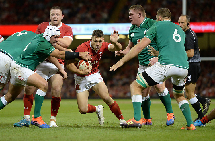 Wales Tomos Williams looks for a way through<br /> <br /> Photographer Ian Cook/CameraSport<br /> <br /> 2019 Under Armour Summer Series - Wales v Ireland - Saturday 31st August 2019 - Principality Stadium - Cardifff<br /> <br /> World Copyright © 2019 CameraSport. All rights reserved. 43 Linden Ave. Countesthorpe. Leicester. England. LE8 5PG - Tel: +44 (0) 116 277 4147 - admin@camerasport.com - www.camerasport.com