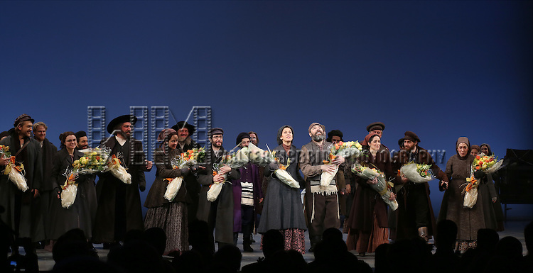 Adam Dannheisser, Alexandra Silber, Adam Kantor, Jessica Hecht, Danny Burstein and cast during the Broadway Opening Night Performance Curtain Call bows for 'Fiddler On The Roof'  at the Broadway Theatre on December 20, 2015 in New York City.