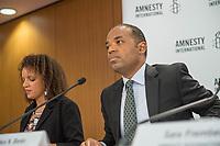 Pressegespraech zur Verleihung des 9. Amnesty Menschenrechtspreises am 16. April 2018 in Berlin.<br /> Amnesty International vergibt den Menschenrechtspreis 2018 an das Nadeem-Zentrum in Kairo als ein Zeichen gegen Folter in Aegypten.<br /> Stellvertretend fuer das Nadeem-Zentrum nahm der aegyptische Arzt und Menschenrechtsaktivist Taher Mukhtar entgegen, da die Betreiber des Zentrums nicht aus Aegypten ausreisen duerfen.<br /> Im Bild vlnr.: Najia Bounaim, Stellvertretende Nordafrika-Direktorin fuer Kampagnen im Internationalen Sekretariat von Amnesty International und Markus N. Beeko, Generalsekretaer von Amnesty International in Deutschland.<br /> 16.4.2018, Berlin<br /> Copyright: Christian-Ditsch.de<br /> [Inhaltsveraendernde Manipulation des Fotos nur nach ausdruecklicher Genehmigung des Fotografen. Vereinbarungen ueber Abtretung von Persoenlichkeitsrechten/Model Release der abgebildeten Person/Personen liegen nicht vor. NO MODEL RELEASE! Nur fuer Redaktionelle Zwecke. Don't publish without copyright Christian-Ditsch.de, Veroeffentlichung nur mit Fotografennennung, sowie gegen Honorar, MwSt. und Beleg. Konto: I N G - D i B a, IBAN DE58500105175400192269, BIC INGDDEFFXXX, Kontakt: post@christian-ditsch.de<br /> Bei der Bearbeitung der Dateiinformationen darf die Urheberkennzeichnung in den EXIF- und  IPTC-Daten nicht entfernt werden, diese sind in digitalen Medien nach &sect;95c UrhG rechtlich geschuetzt. Der Urhebervermerk wird gemaess &sect;13 UrhG verlangt.]