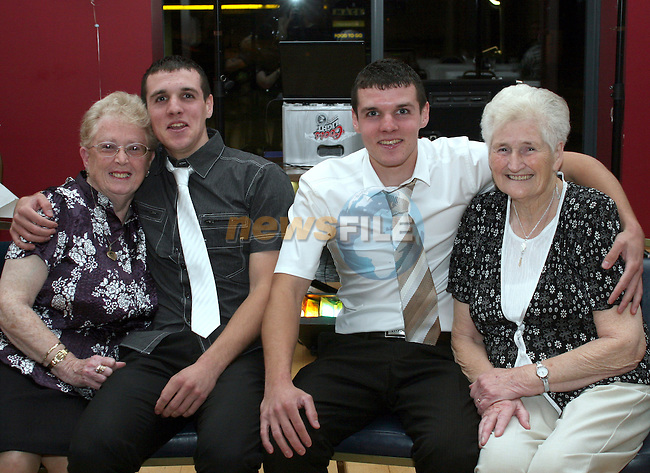 Sean and David Campbell with their two grandmothers at their 21st in the Thatch...Photo NEWSFILE/Jenny Matthews.(Photo credit should read Jenny Matthews/NEWSFILE)....This Picture has been sent you under the condtions enclosed by:.Newsfile Ltd..The Studio,.Millmount Abbey,.Drogheda,.Co Meath..Ireland..Tel: +353(0)41-9871240.Fax: +353(0)41-9871260.GSM: +353(0)86-2500958.email: pictures@newsfile.ie.www.newsfile.ie.FTP: 193.120.102.198.