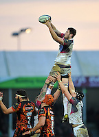 Rory Thornton of the Ospreys wins the ball at a lineout. European Rugby Champions Cup match, between Exeter Chiefs and the Ospreys on January 24, 2016 at Sandy Park in Exeter, England. Photo by: Patrick Khachfe / JMP
