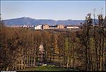 Venaria Reale. Parco Regionale La Mandria. Vista panoramica sulla Reggia di Venaria Reale e sulla città dagli appartamenti reali di Borgo Castello.