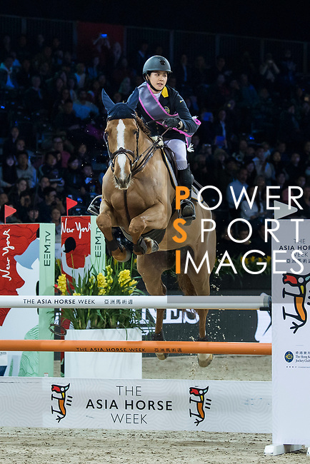 Team GEN rider Jacqueline Lai of Hong Kong riding Chardonay Haras des Barrages and jockey Derek Leung riding Cewaldine competes in the HKJC Race Of The Riders during the Longines Masters of Hong Kong at the Asia World Expo on 09 February 2018, in Hong Kong, Hong Kong. Photo by Diego Gonzalez / Power Sport Images