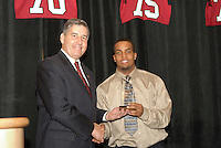 14 January 2007: Bob Bowlsby presents an award to Chris Hobbs at the annual football banquet at McCaw Hall in Stanford, CA.