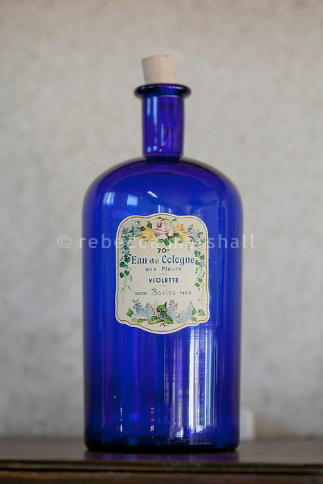 An old bottle of violet eau de cologne on display at the Galimard perfume factory and visitor centre, Grasse, France, 3 May 2013