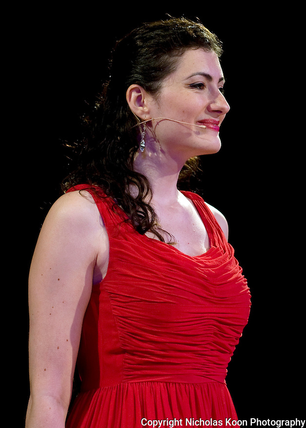 Soprano Valentina Fleer singing at the 2012 Pacific Symphony Gala at the Hyatt Regency Hotel in Irvine.
