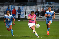 Kansas City, MO - Friday May 13, 2016: FC Kansas City midfielder Mandy Laddish (7) against the Chicago Red Stars during a regular season National Women's Soccer League (NWSL) match at Swope Soccer Village. The match ended 0-0.