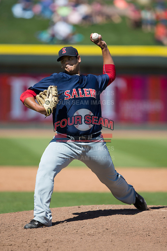 Salem Red Sox starting pitcher Dedgar Jimenez (51) in action against the Winston-Salem Dash at BB&T Ballpark on April 17, 2016 in Winston-Salem, North Carolina.  The Red Sox defeated the Dash 3-1.  (Brian Westerholt/Four Seam Images)