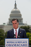 GOP presidential candidate Gov. Mitt Romney reacts to the Supreme Court's ruling upholding health care reform in Washington D.C., June 28, 2012.