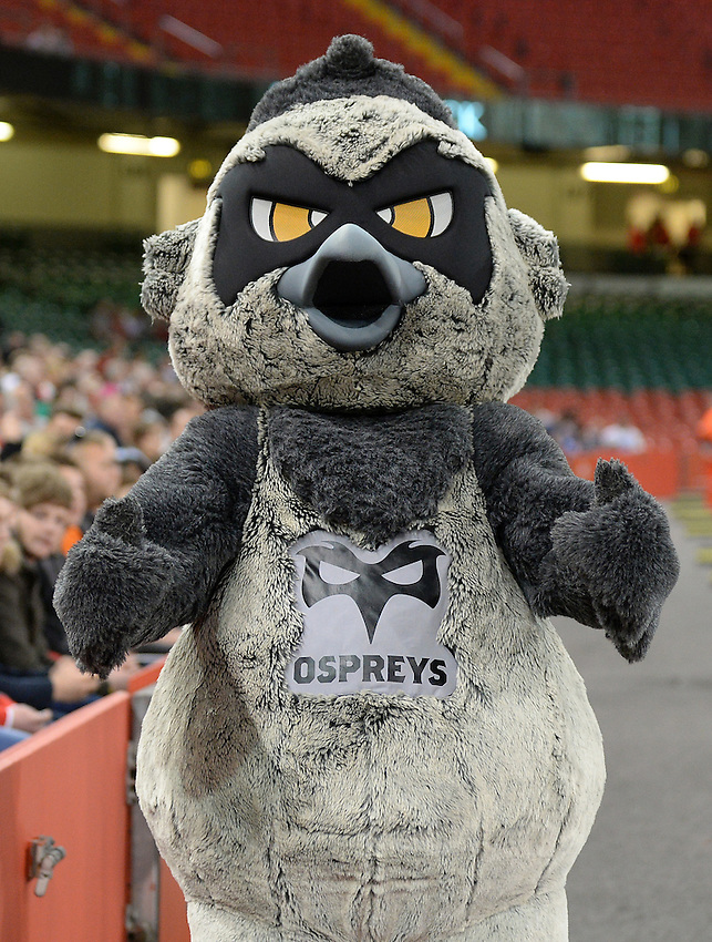 Ospreys mascot Ozzie the Osprey entertains the crowds <br /> <br /> Photographer Ian Cook/CameraSport<br /> <br /> Rugby Union - Guinness PRO12 - Saturday 25th April 2015 - Cardiff Blues v Ospreys - Millennium Stadium - Cardiff<br /> <br /> &copy; CameraSport - 43 Linden Ave. Countesthorpe. Leicester. England. LE8 5PG - Tel: +44 (0) 116 277 4147 - admin@camerasport.com - www.camerasport.com