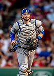 Jun 22, 2019; Boston, MA, USA; Toronto Blue Jays catcher Danny Jansen returns to the dugout at the end of the 8th inning against the Boston Red Sox at Fenway Park. Mandatory Credit: Ed Wolfstein-USA TODAY Sports