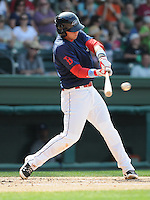 Infielder David Renfroe (16) of the Greenville Drive, Class A affiliate of the Boston Red Sox, in a game against the Asheville Tourists on May 1, 2011, at Fluor Field at the West End in Greenville, S.C. Renfroe was a third-round pick in the 2009 First-Year Player Draft. Photo by Tom Priddy / Four Seam Images