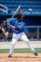 Biloxi Shuckers left fielder Victor Roache (6) at bat during a game against the Jackson Generals on April 23, 2017 at MGM Park in Biloxi, Mississippi.  Biloxi defeated Jackson 3-2.  (Mike Janes/Four Seam Images)
