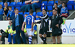 St Johnstone v Aberdeen....18.08.12   SPL.Steve Lomas watches as Chris Millar limps off injured.Picture by Graeme Hart..Copyright Perthshire Picture Agency.Tel: 01738 623350  Mobile: 07990 594431