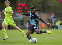 Jason Banton of Wycombe hits a shot at goal during the Sky Bet League 2 match between Wycombe Wanderers and Hartlepool United at Adams Park, High Wycombe, England on 5 September 2015. Photo by Andy Rowland.