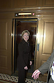 Washington, DC - March 28, 2001 -- United States Senator Hillary Rodham Clinton (Democrat of New York) walks to an elevator in the U.S. Capitol following her participation in a prayer group in Washington, D.C. on March 28, 2001..Credit: Ron Sachs / CNP