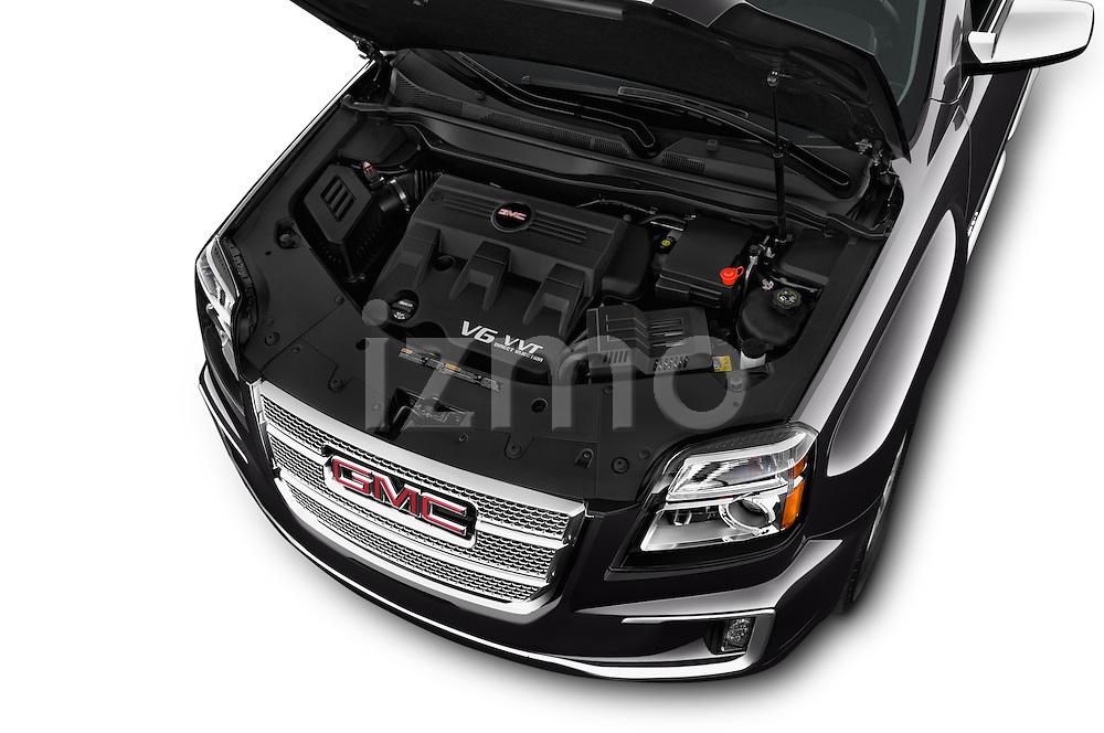 Car Stock 2016 GMC Terrain Denali 5 Door SUV Engine high angle detail view