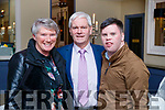 Patricia, Kevin and Cathal Griffin, Glenbeigh, pictured at the Kerry Supporters Social at Ballygarry House Hotel and Spa, Tralee, on Saturday night last.