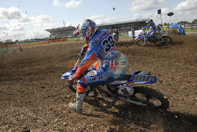 Davide Guarneri (ITA) rounds the first corner during the MX2 Grand Prix Race2 in the Motocross Grand Prix at Fairyhouse Race Course, Co.Meath, Ireland, 31st August 2008.(Photo Eoin Clarke/Newsfile)
