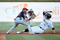 Rochester Red Wings second baseman Luis Arraez (9) waits for the throw as Adam Engel (11) of the Charlotte Knights steals second base at BB&T BallPark on May 14, 2019 in Charlotte, North Carolina. The Knights defeated the Red Wings 13-7. (Brian Westerholt/Four Seam Images)
