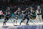 Josh Monk (PC - 27), Kyle McKenzie (PC - 5), Brandon Tanev (PC - 22), Steven McParland (PC - 15), Jon Gillies (PC - 32) - The Providence College Friars defeated the Boston University Terriers 4-3 to win the national championship in the Frozen Four final at TD Garden on Saturday, April 11, 2015, in Boston, Massachusetts.