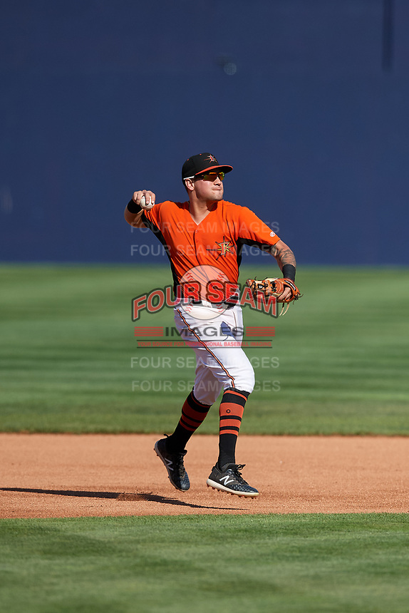 Frederick Keys shortstop Alejandro Juvier (6) throws to first base during the first game of a doubleheader against the Lynchburg Hillcats on June 12, 2018 at Nymeo Field at Harry Grove Stadium in Frederick, Maryland.  Frederick defeated Lynchburg 2-1.  (Mike Janes/Four Seam Images)
