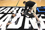 MILWAUKEE, WI - MARCH 16:  A Purdue Boilermakers player stretches before the 2017 NCAA Men's Basketball Tournament held at BMO Harris Bradley Center on March 16, 2017 in Milwaukee, Wisconsin. (Photo by Jamie Schwaberow/NCAA Photos via Getty Images)