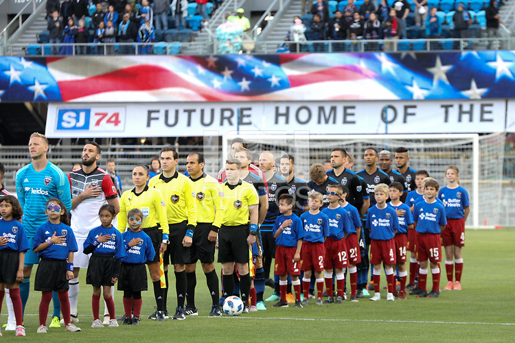 San Jose, CA - Saturday May 19, 2018: San Jose Earthquakes  during a Major League Soccer (MLS) match between the San Jose Earthquakes and D.C. United at Avaya Stadium.