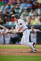 Connecticut Tigers third baseman Cam Warner (44) follows through on a swing during a game against the Lowell Spinners on August 26, 2018 at Dodd Stadium in Norwich, Connecticut.  Connecticut defeated Lowell 11-3.  (Mike Janes/Four Seam Images)