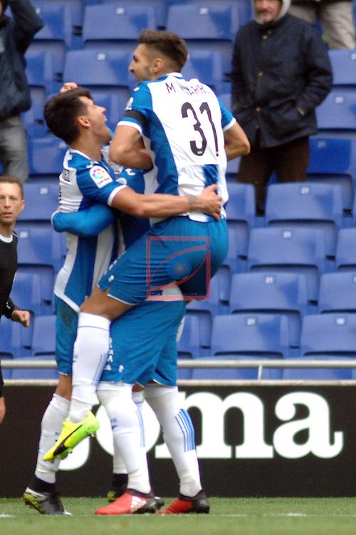 League Santander 2016/2017. Game: 19.<br /> RCD Espanyol vs Granada CF: 3-1.<br /> Hernan Perez &amp; Marc Navarro.