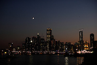 The city skyline at night as viewed from Navy Pier in Chicago, Illinois on August 5, 2008.