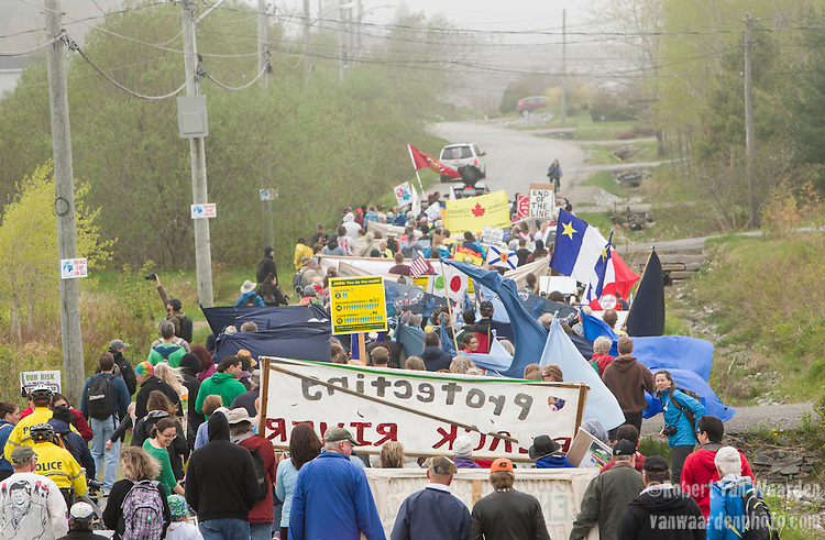 On May 30, 2015, over 500 Canadian citizens and First Nations marched in Red Head, Saint John, at the End of the Line for the proposed Energy East pipeline. The people were protesting the proposed mega pipeline and the tank terminal that would destroy and the Red Head community and endanger the Bay of Fundy. If approved, TransCanada's Energy East pipeline would travel 4600km from Alberta to Saint John, New Brunswick, shipping 1.1 million barrels of crude oil and bitumen for export through the Bay of Fundy, a critical habit for Right whales and home to thousands of jobs in Tourism and Fishing.