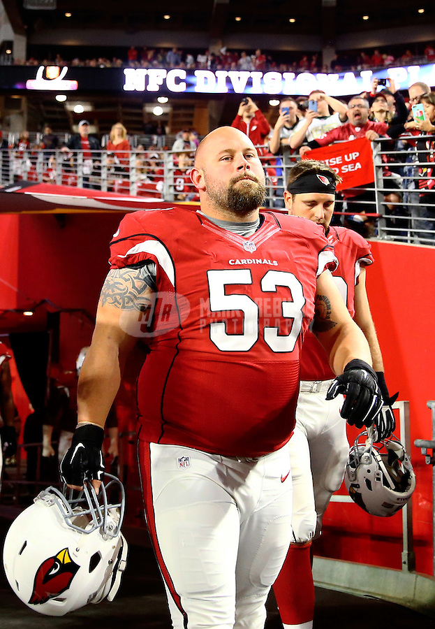 Jan 16, 2016; Glendale, AZ, USA; Arizona Cardinals center A.Q. Shipley (53) against the Green Bay Packers during an NFC Divisional round playoff game at University of Phoenix Stadium. Mandatory Credit: Mark J. Rebilas-USA TODAY Sports