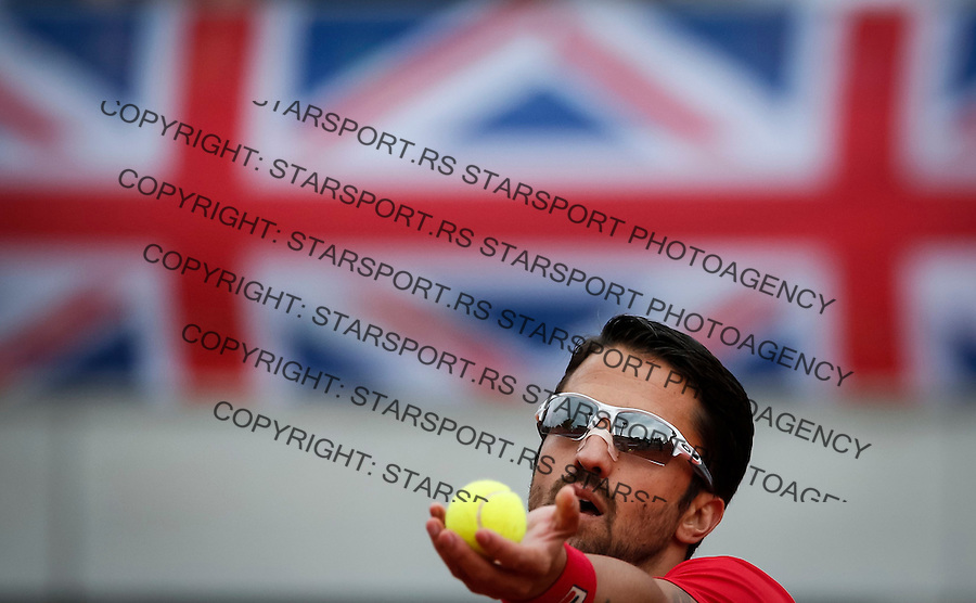 Davis Cup 2016 Quarter Final<br /> Srbija v Velika Britanija<br /> Janko Tipsarevic SRB v Kyle Edmund GBR<br /> Janko Tipsarevic<br /> Beograd, 15.07.2016.<br /> Foto: Srdjan Stevanovic/Starsportphoto.com&copy;