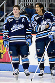 Bret Tyler (Maine - 44), Vince Laise (Maine - 55) - The Boston University Terriers defeated the University of Maine Black Bears 1-0 (OT) on Saturday, February 16, 2008 at Agganis Arena in Boston, Massachusetts.