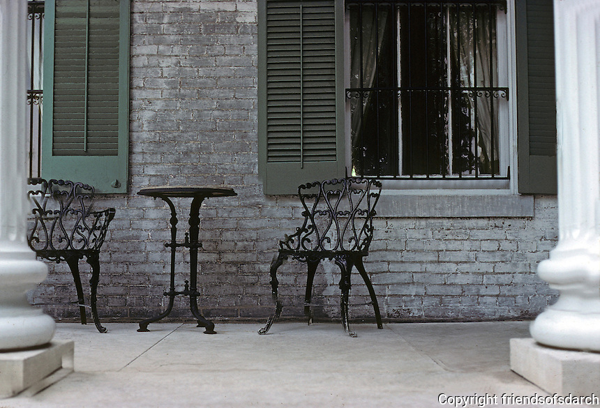 St. Louis: Chatillon-De Menil House, rear porch. Photo '78.