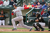 April 30th 2008: Gil Velazquez (2) of the Pawtucket Red Sox, Class-AAA affiliate of the Boston Red Sox, at bat during a game at Frontier Field  in Rochester, NY.  Photo by Mike Janes/Four Seam Images