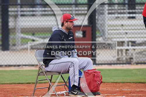 during the Baseball Factory All-America Pre-Season Rookie Tournament, powered by Under Armour, on January 13, 2018 at Lake Myrtle Sports Complex in Auburndale, Florida.  (Michael Johnson/Four Seam Images)