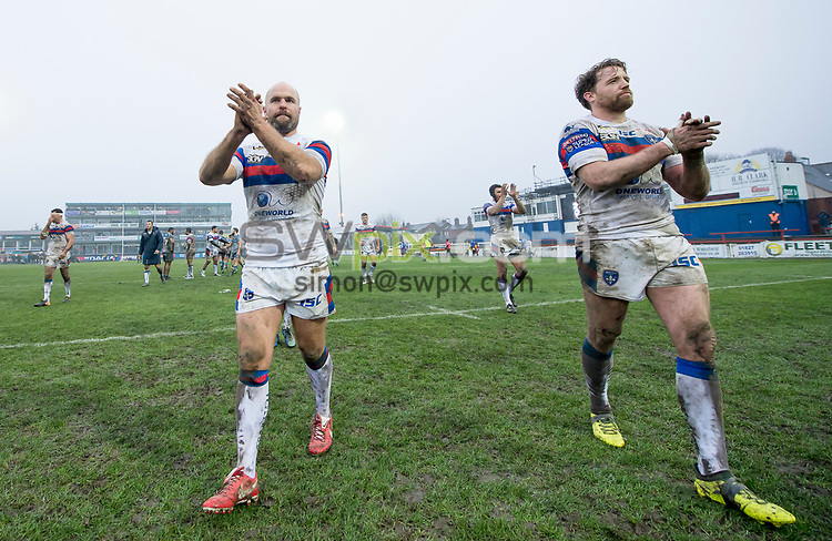 Picture by Allan McKenzie/SWpix.com - 04/03/2018 - Rugby League - Betfred Super League - Wakefield Trinity v Huddersfield Giants - The Mobile Rocket Stadium, Wakefield, England - Wakefield's Liam Finn & Danny Kirmond celebrate victory over Huddersfield by thanking the fans for their support.