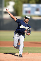 Milwaukee Brewers pitcher Angel Ventura (22) during an Instructional League game against the San Francisco Giants on October 10, 2014 at Maryvale Baseball Park Training Complex in Phoenix, Arizona.  (Mike Janes/Four Seam Images)