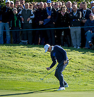 26.09.2014. Gleneagles, Auchterarder, Perthshire, Scotland.  The Ryder Cup.  Keegan Bradley [USA] celebrates a putt on 10th Friday Fourballs.
