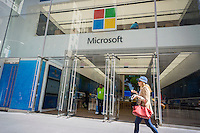 The Microsoft flagship store on Fifth Avenue in New York, on Monday, April 18, 2016. Microsoft is expected to release its quarterly earnings on Thursday. (© Richard B. Levine)