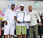 MIAMI, FL - JULY 25: Guest, Mike Gardner and City of Miami Commissioner Keon Hardemon during the Overtown Music and Arts Festival at the historic Overtown district of Miami on Saturday July 25, 2015 in Miami, Florida. ( Photo by Johnny Louis / jlnphotography.com )