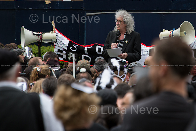 Brian May.<br /> <br /> London, 01/06/2013. &quot;London Against the Badger Cull&quot; held a demonstration in central London against the UK Government's controversial pilot badger cull which began today.  From their website: &lt;&lt;We think that the government and farmers are scapegoating badgers to avoid addressing the real cause of bTB (bovine tuberculosis): bad farming practices. We feel the evidence suggests that intensive farming and the inhumane treatment of cows in the dairy industry is to blame for the spread of this terrible disease. Cows farmed for the dairy industry live in squalid, overcrowded conditions. They are also under tremendous stress and are overworked, meaning that they are very prone to the spread of diseases. We would like to see the end of cruel farming practices and a more healthy respect for this country's invaluable wildlife by the government and farming communities&gt;&gt;.<br /> <br /> For more information please click here: http://www.londonagainstthecull.org.uk/